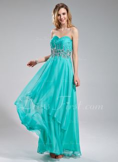 A-Line/Princess Sweetheart Floor-Length Chiffon Prom Dress With Beading Sequins Cascading Ruffles (018018770) - DressFirst