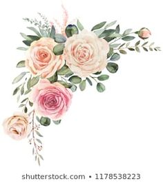 Watercolor floral bouquet composition with roses and eucalyptus - Buy this stock illustration and explore similar illustrations at Adobe Stock Frame Floral, Flower Frame, Flower Art, Watercolor Artwork, Watercolor Flowers, Photo Frame Design, Illustration Blume, Flower Wall Decals, Pretty Wallpapers