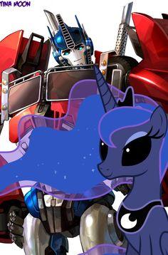 Luna i Optimus Prime