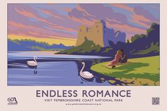 Our award-winning posters and postcards were initially created to celebrate the Pembrokeshire Coast National Park's anniversary in You . Posters Uk, Railway Posters, Art Deco Posters, Postcard Examples, Transport Map, Public Transport, Transport Posters, Pembrokeshire Coast, British Travel
