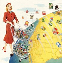 Putting The World In Her Market Basket - detail from 1952 Continental Can ad. Retro Advertising, Vintage Advertisements, Vintage Ads, Vintage Photos, Retro Housewife, Morning Cartoon, Retro Images, Market Baskets, Vintage Country
