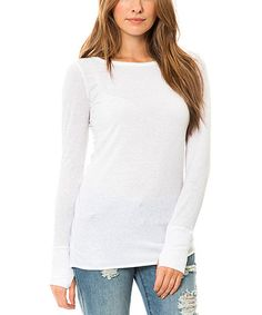 Look what I found on #zulily! White Thumbhole Top #zulilyfinds