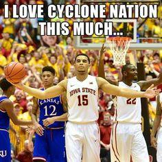 I Love Cyclone Nation This Much. Isu Basketball, Iowa State Basketball, Iowa State Cyclones, Alma Mater, Kansas, My Love, Memes, Sports, State University