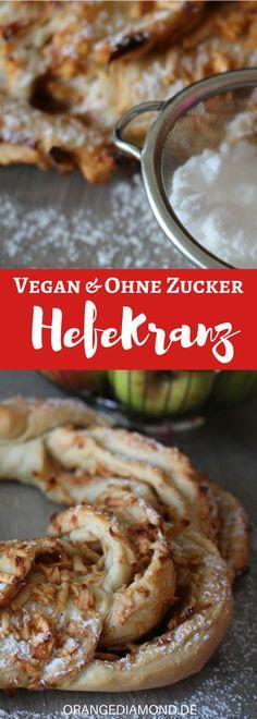 Kann man Hefeteig ohne Zucker zubereiten? In Rezept für ein Osterkranz mit Äpfeln ohne Zucler sind keine fremden Süßungmittel erlaubt. Lediglich für das Aufgehen der Hefe füge ich eine kleine Menge zum Hefebrot hinzu! Veganes und leckeres Hefe-Rezept für die Ostertafel. #vegan #zuckerfrei #rezept #ostern #hefebrot
