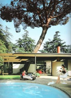 "1958 Saul Bass Residence (Case Study House #20) | Architects: Buff, Straub & Hensman | 2275 Santa Rosa Ave in Altadena, CA Home of Graphic Designer Saul Bass and part of the Case Study Program for John Entenza's Arts & Architecture Magazine. From the book, ""Case Study Houses"" Editorial Taschen. Elisabeth A. T. Smith"