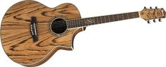 Ibanez exotic wood series...African zebra wood. Surprisingly awesome sound from an Ibanez, and so easy on the fingers.