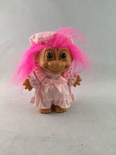 Vintage Russ Troll Doll, Pink Hair, Nightgown and Nightcap