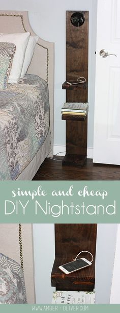 simple and cheap DIY NIghtstand from Amber-Oliver.com Maybe use a home made mason jar lamp.