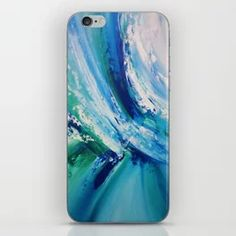 Turquoise Wave Art Detail 1 iPhone Skin Wave Art, Iphone Skins, Tech Accessories, Turquoise, Art Prints, Detail, Abstract, Artwork, Cards
