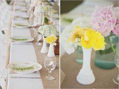 simple wedding decor, white runner user plates nice touch