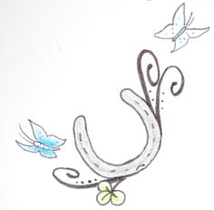 1aeedb2f1351c horse shoe tattoo design- Without the butterflies and drawn much better.  Another kinda cute