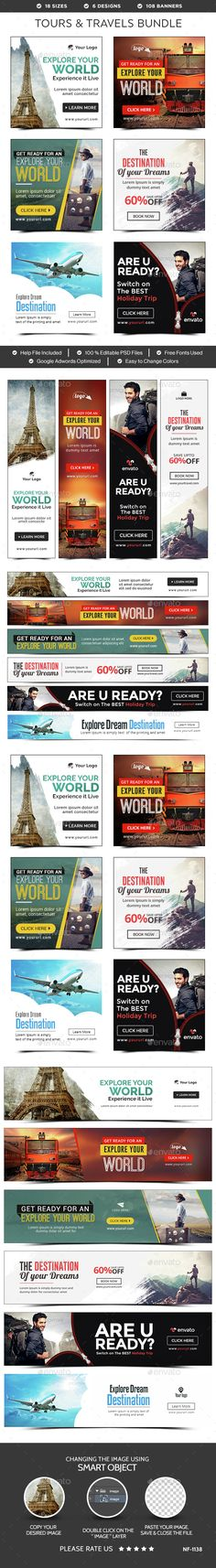 Tours & Travels Web Banners Bundle - 6 Sets Template PSD. Download here: http://graphicriver.net/item/tours-travels-banners-bundle-6-sets/15122793?ref=ksioks
