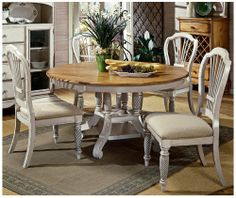 Hillsdale Wilshire Antique White Round 5 Piece Dining Set by Hillsdale. $1499.00. The Wilshire Collection from Hillsdale Furniture features a blend of cottage styling with country accented details. The blend of Americana and English Country gives the Wilshire Collection a distinct look. The craftmanship is evident in every piece. The antique white finish on this round five piece dining set was painstakingly applied to give years of enjoyment.