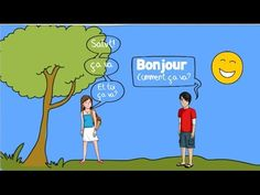 French Greetings Song for Children - Bonjour! Intro to presentation LS & MS French Basics, French For Beginners, French Teacher, Teaching French, How To Speak French, Learn French, Greeting Song, French Greetings, French Songs