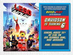 Lego invitation Lego personalized invitation Lego by BogdanDesign, $7.99
