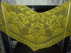 "Knitted Shawl | Шаль ""Хризантемы"""