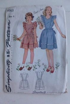Vintage Simplicity Pattern 4963 Girls Dress and Pinafore Size 8 by VintagePatternDrawer on Etsy