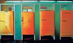 Portas de geladeiras antigas usadas nos provadores da Loja King55, São Paulo