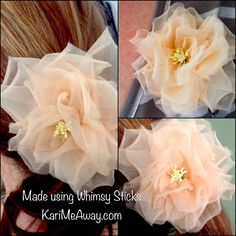 Silk organza roses From Whimsy Flowers and Trims book. KariMeAway.com