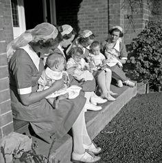 """Mothering time"" at Karitane Hospital, Christchurch, 1943. Photo by John Dobree"