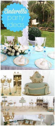 Such a pretty Cinderella themed party! And it's held outdoors! See more party ideas at CatchMyParty.com!