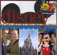 """Intro page to my Disney album with several of my favorite photos from that trip. other products used: patterned paper: Pebbles Inc """"School Stripes"""" glitter chipboard letters: Making Memories 07 Disney sticker: Walt Disney World (It originally said Ideas Scrapbook, Vacation Scrapbook, Disney Scrapbook Pages, Scrapbook Page Layouts, Scrapbook Paper Crafts, Scrapbook Cards, Scrapbooking Ideas, Scrapbook Sketches, Scrapbook Supplies"""