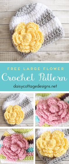 Flower Crochet Pattern Free This free crochet flower pattern is the perfect embellishment for hats, bags, and so much more. Whipped up in half an hour or less, it's a great last-minute gift or accessory for that new outfit. Crochet Puff Flower, Hat Flower, Crochet Roses, Crochet Daisy, Crochet Stars, Headband Flowers, Crochet Flower Headbands, Flower Frog, Baby Headbands