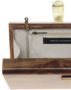 French Connection Wonder Wood Clutch Bag