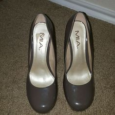 "Mia vegan patent leather platforms ""uptown girl"" Mia retro platforms only been worn once in a beautiful grey brown patent vegan leather. No scuffs scratches or obvious signs of wear. Perfect for fall MIA Shoes"