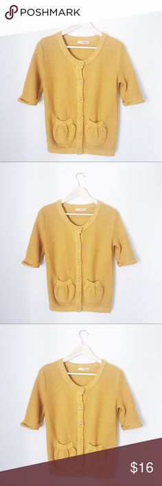 FOREVER 21 BIG BUTTON COZY MUSTARD CARDIGAN BUST: 19 1/2 inches. LENGTH: 24 1/2 inches. Forever 21 Sweaters Cardigans