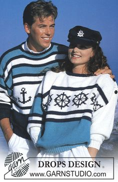 DROPS jumper with nautical pattern motifs in Paris. Ladies and men's size S – L. Free pattern by DROPS Design. Sweater Knitting Patterns, Knit Patterns, Grunge Look, 90s Grunge, Grunge Style, Soft Grunge, Grunge Outfits, Simply Knitting, Free Knitting