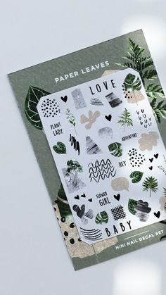 by Odine Nails Paper Leaves, Nail Decals, Contemporary, Nails, Unique Jewelry, Handmade Gifts, Finger Nails, Kid Craft Gifts, Ongles