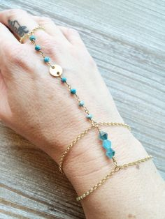 Blue/Turquoise Crystal and Gemstone Hand Chain by MallEadornments