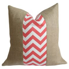 Eco-friendly burlap pillow with a chevron-patterned fabric stripe in coral. Made in the USA. $105.00  Product: PillowConstru...