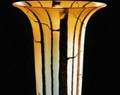 Gold Topaz Tree Vase Hand blown Glass Vase door KatzGlassDesign