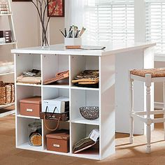 I want  this project table with bookcases in black for a kitchen island