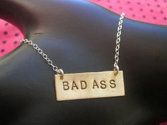 BAD ASSRectangle Charm Necklace Brass Rectangle by MetalTaboo, $40.00