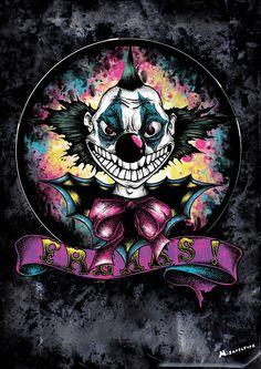 """""""Freaks"""" Affiche originale, créée à partir d'une dessin Noir et Blanc retravaillé sur ordinateur. Entre art illustratif et peinture numérique, cette affiche aux allures de tatouage est disponible en format A3 où sur commande en format: 40*60 cm à 16€ et 80*120 cm à 40 euros."""