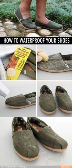 waterproofing shoes made easy!!  saw this and I really want to try it out in the summer :)