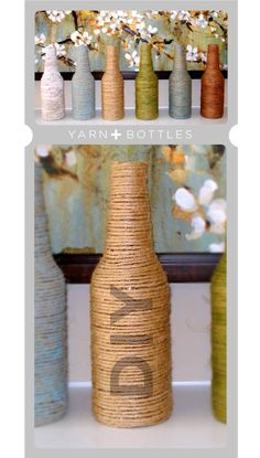 Glue string and yarn around old bottles to make colorful and cute centerpieces and vases. Old Stella Rosa wine bottles, perhaps?