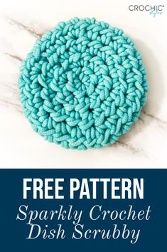 Need an easy and quick dish scrubby that adds some color to your kitchen? This is a free crochet pattern offered by CroChic Styles using Hobby Lobby& Scrub-Ology Scrub It! Crochet Kitchen, Crochet Home, Crochet Yarn, Easy Crochet, Free Crochet, Scrubbies Crochet Pattern, Crochet Dishcloths, Yarn Projects, Crochet Projects