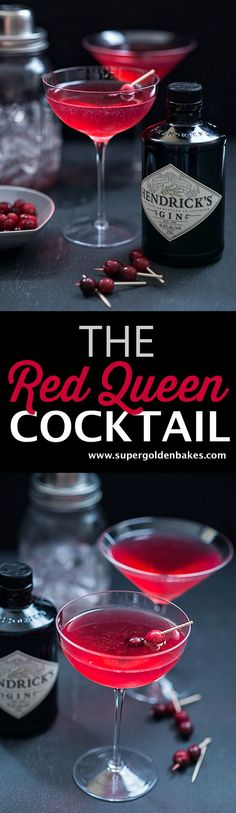 16 easy Halloween cocktails to really take your breath away The Red Queen cocktail: beautiful, capricious and a little dangerous. this festive gin-based cocktail was named after the Red Queen in Alice in Wonderland. Halloween Cocktails, Festive Cocktails, Christmas Cocktails, Christmas Gin, Disney Cocktails, Party Drinks, Fun Drinks, Yummy Drinks, Beverages