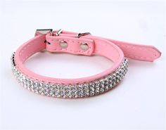 Puppy-league® Pu Leather Diamond Dog Collars Necklace Strap with Rhinestone Heart Pendant *** Visit the image link more details.
