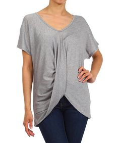 Look at this Heather Gray Ruched V-Neck Top on #zulily today!