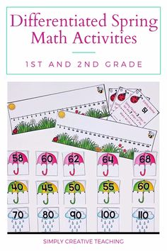 Enhance your spring math centers for first and second grade with these differentiated fun math work stations. Learning and practicing with addition games, word problems, skip counting, and place value is so much fun for 1st grade and 2nd grade students. These are great to include with guided math rotations and small groups. They include recording sheets for kids to use.