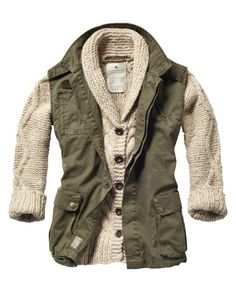 Sleeveless military jacket with cable knitted cardigan inside by Maison Scotch