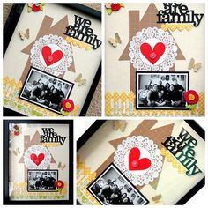 We are family. House, heart, words w/ silhouette