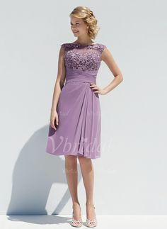 Mother of the Bride Dresses - $109.00 - A-Line/Princess Scoop Neck Knee-Length Chiffon Mother of the Bride Dress With Ruffle Appliques Lace (0085095771)