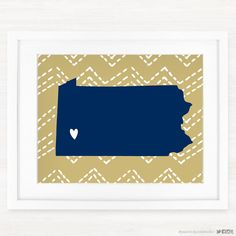 This is a fun Pennsylvania print using blue and gold colors! This is a great gift for any collegiate student or fan!  Please Note: This print is not