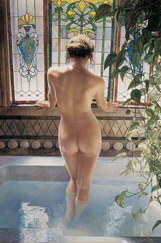 OK, technically, 'Art for the Bathroom'. I just love this. Steve Hanks ~Morning Bath watercolor